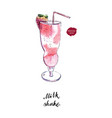 glass of milk shake with straw watercolor vector image vector image