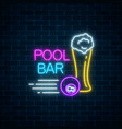 glowing neon sign of bar with pool including vector image vector image