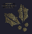 Gold Christmas and new year ornamental mistletoe vector image vector image