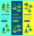 green trees park banner vecrtical set 3d isometric vector image