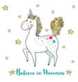 greeting card with cute unicorn and stars vector image vector image