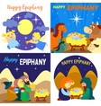 happy epiphany banner set cartoon style vector image vector image