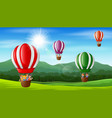 happy kids flying in a hot air balloon vector image