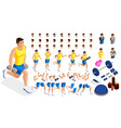 isometrics create your sporty inflated man vector image vector image