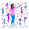 isometry of a large girl against the background vector image vector image