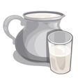Jug of milk and filled glass drink isolated vector image vector image