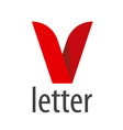 logo red ribbon in the shape of the letter V vector image vector image