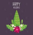 merry christmas celebration tree with balls flower vector image
