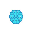 mind technology blue brain logo vector image vector image