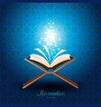 muslim quran with magic light for ramadan of islam vector image vector image