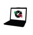 pizza on laptop vector image