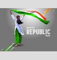 printindian girl waving flag her hands 15 august