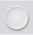 realistic circle white wooden photo frame isolated vector image
