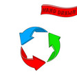 recycle symbol red blue and green hand drawn vector image vector image