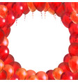 Red balloons in round frame shape on white