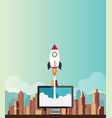 rocketship on computer for startup media vector image vector image