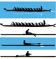 rowing silhouette vector image vector image