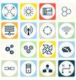 set of 16 machine learning icons includes hive vector image