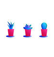 set of cacti in pots bright color combinations vector image vector image
