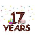 seventeen years anniversary celebration card vector image vector image