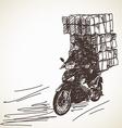 Sketch of motorcycle delivery vector image vector image