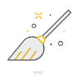 Thin line icons Mop vector image