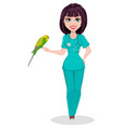 veterinarian woman cute cartoon character vector image