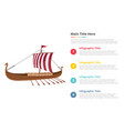 viking ship infographics template with 4 points vector image vector image