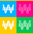 won sign four styles of icon on four color vector image vector image