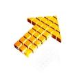 Arrow icon made of orange cubes vector image