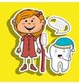 cartoon girl holding toothbrush and a cartoon vector image
