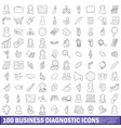 100 business diagnostic icons set outline style vector image vector image
