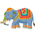 Cartoon elephant with Indian classic traditional vector image vector image