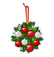 christmas sketch with hanging wreath of fir twigs vector image