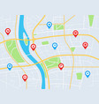 city map with pins gps navigation route with vector image