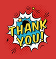 colorful pop art with thank you text decorative vector image vector image