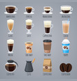 espresso latte cappuccino in glasses and mugs vector image