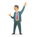 executive businessman wearing office suit point vector image vector image
