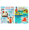 fishing and hiking seafood and sea fish catch vector image vector image