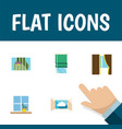 flat icon glass set of balcony curtain cloud and vector image vector image