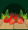 fresh fruits strawberry cartoon vector image vector image