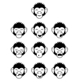 Glyph monkey face expressions vector image vector image