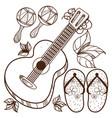 guitar maracas beach flip flops outline drawing vector image vector image