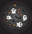 hallowen pattern black bats white ghost and vector image