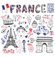 Hand drawn doodles set of France - Eiffel tower vector image