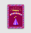 happy birthday postcard with festive cone hat vector image vector image