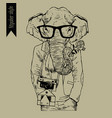 hipster indian elephant hand drawn vector image vector image
