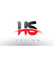 hs h s brush logo letters with red and black vector image vector image