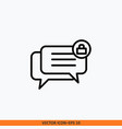 icon group chat lock flat line outline black in vector image