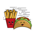 kawaii fast food icon adorable expression vector image vector image